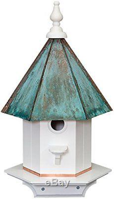Dress Yard single Hole Vinyl PATINA Bird House with Copper Roof Amish Made in 24