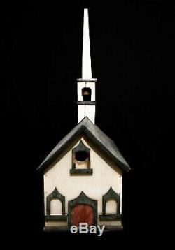 Early-mid 20th C Vint Hand Crafted Painted Congregational Church Bird House