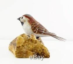 Ed Magargee Hand Carved Wood House Sparrow Bird On Branch Figure Signed