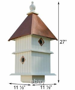 HOLLY BIRD HOUSE WITH HAMMERED COPPER COLORED METAL ROOF by WING & A PRAYER