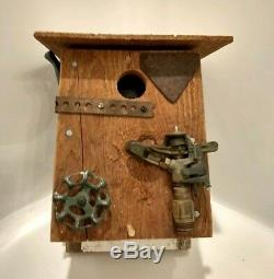 Handcrafted wood Birdhouse with garden accents Beautiful
