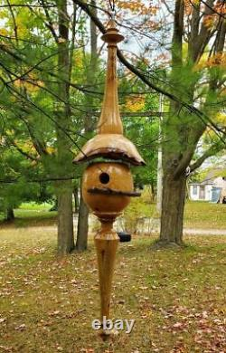 Handmade Two Piece Woodturned Ash Wooden Hanging Birdhouse (39 long)