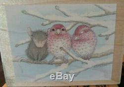 House mouse, cozy roost, birds, winter, big, stampabilities, 162, rubber, wood