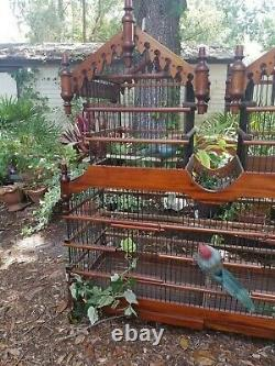 Huge Large Wood & Metal ornate Victorian Style Bird cage rare Chinoiserie 37