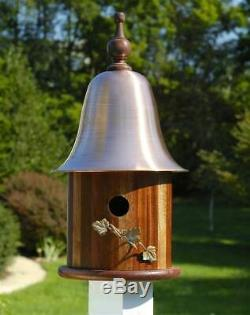 Ivy House Bird House w Mahogany Wood Copper Roof ID 8974