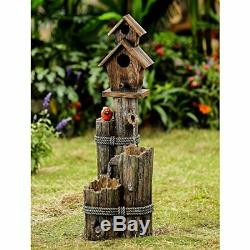 Jeco Tiered Wood Finish Water Fountain with Birdhouse