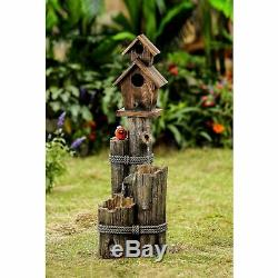 Jeco Wood Finish Tiered Water Fountain and Birdhouse Multi