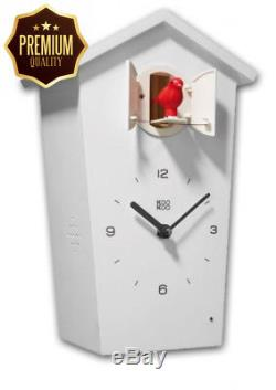 KOOKOO BirdHouse white wall clock with 12 natural bird voices field