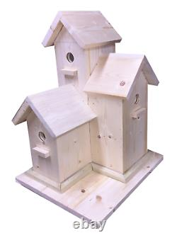 LARGE Birdhouse Multi level Bird House Condo Hand Made to Order Solid Wood 22 T