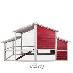 Large Chicken Coop Rabbit Hutch Hen Poultry Ark House With Run Nest Pet Bird Cage