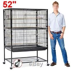 Large Play Top Bird Cage Parrot Finch Macaw Cockatoo Birdcages House 52 High