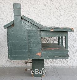 Large Vintage Hand Crafted Birdhouse. Wood Cabin with Porch & Chimney. UNIQUE