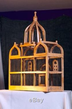 Large Vintage Victorian Dome topped TAJ MAHAL Style Wood & Wire BIRD House CAGE