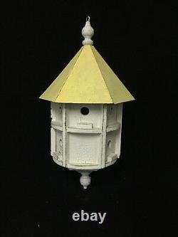 Large Vintage White And Yellow Painted Bird House