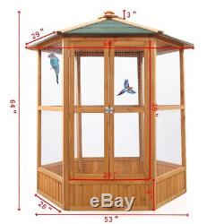 Large Wooden Bird Cage Gentle Animals Pet House Poultry Parrots Walk in Aviary