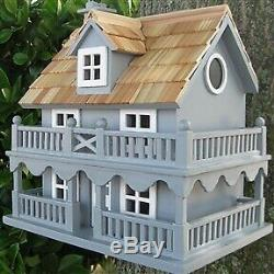 Light Blue Wooden Cottage Bird House Cottage Bird House with Removeable Back
