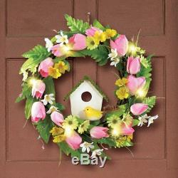 Lighted Hanging Door Decoration Spring Wall Wreath Tulips Birdhouse Ornament NEW