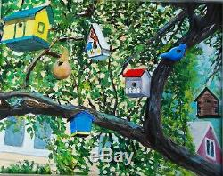 Love Bird Houses Original Oil Painting from Kensington, Maryland