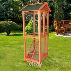 Luckyermore Bird Cage Wooden Aviary House Stand Finch Conure Play Pet Supplies