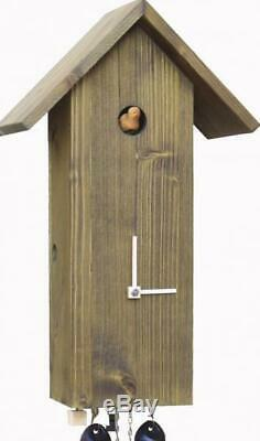 Modern cuckoo clock Bird house with mechanical 8-days-movement, SLM3-4 wood