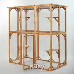 NEW Wood Outdoor Cat Bird House Small Animal Pen Cage Dog Play Home Enclosure US