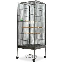 New Black Large Bird Cage with Roof Steel Bird Houses Indoor Aviary Free Ship