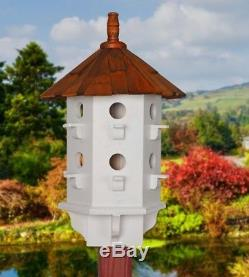 New Purple Martin Bird House Home Beautiful Wood White Bird Lovers