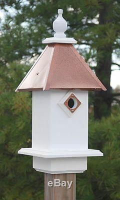 New Wing and A Prayer Classic Bluebird House Hammered Copper Roof Bird House