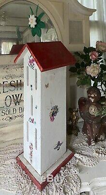 OMG! OLD Vtg Wood TALL Butterfly House Decoupaged Birds Bees Flower Spinner Top