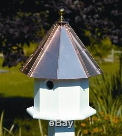 Oct-Avian Bird House w White Bright Copper Roof ID 8965
