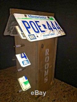 Original Handmade Natural Wood Birdhouse With License Plate Roof/car Parts