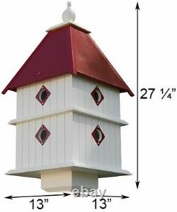 PLANTATION BIRD HOUSE WITH MERLOT RED ROOF by A WING & A PRAYER