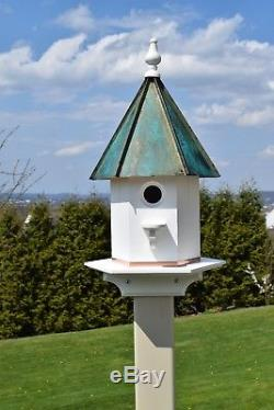 Patina Copper roof Large 24 inches Tall woodpecker house Amish handmade
