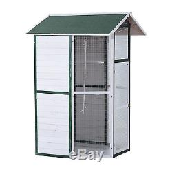 PawHut 98H Wood Bird Cage Parrot Finch Cockatiel Macaw Playing House Outdoor