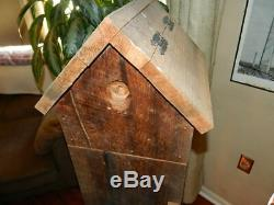 Primitive Rustic Wood Hutch Cabinet with3 Drawers & Double Hinged Birdhouse Roof