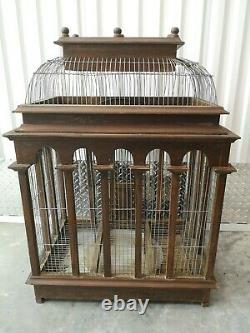 Rare Large Majestic Wood Bird Cage Vintage Victorian Architectural Dome Wooden