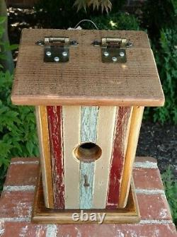 Recycled Old Growth Wood Bluebird Collectible Birdhouse with Hinged/Slanted Roof