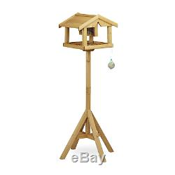 Relaxdays Birdhouse, Wood, Untreated, Free-Standing, Bird Feeder Assembly Kit, x