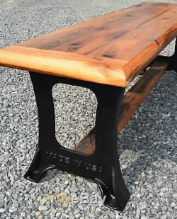 Rustic Bench, Farmhouse Bench, Reclaimed wood, New Cast Iron legs USA Amish Made