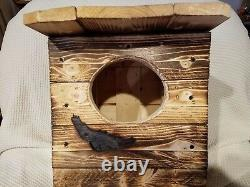 SPOTTED OWL. Or VERY LG OWL. NESTING BOX. 1 UNIT=BY. M Holley/MADE BY U. S. A. VET'S