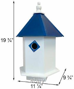 SYCAMORE BIRD HOUSE with COBALT BLUE ROOF by A WING & A PRAYER