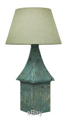 Scratch & Dent Set of 2 Blue Vintage Birdhouse Table Lamps Linen Fabric Shade