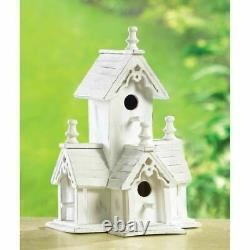 Set of 5 Shabby White Distressed Wood Victorian Style Bird Houses Birdhouse NEW