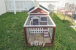 Small Pet Cage Rabbit Bird Hutch Bunny House Chicken Picket Fence Outdoor Yard