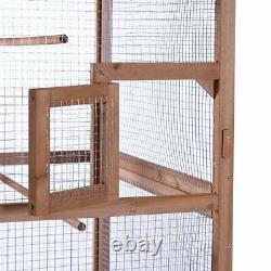 Solid Wood Bird Cage Parrot House Home Birds Outdoor Yard Large Canary Aviary
