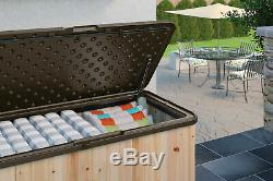 Suncast 120 Gallon Extra Large Wood and Resin Deck Box