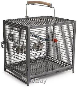 Travel Bird Cage Carrier Hotel Perch Pet Parrot Small Wood Cup Safe House Steel