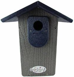 Ultimate Bluebird House, Handmade Eco-Friendly Recycled, Poly Lumber Gray Blue