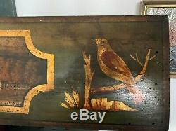 Unusual Antique Green & Gold Gilt Painted Wood Panel Birds Houses Fence Trees