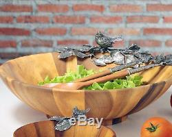 Vagabond House Acacia Wood Large Salad Serving Bowl with Pewter Song Bird 16